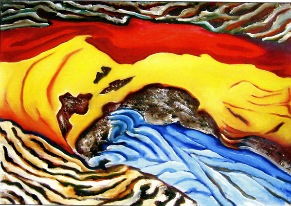 Red, Yellow, Blue V,  15x22, oil on paper, Jean Towgood, 2003