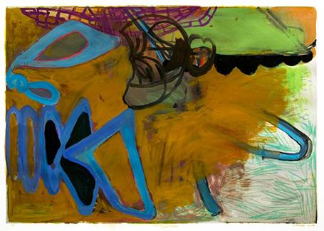 "Sandra Perlow, Landfall, 2012 monoprint, gouache, crayon, paper, 18x24"" www.sandraperlow.net"