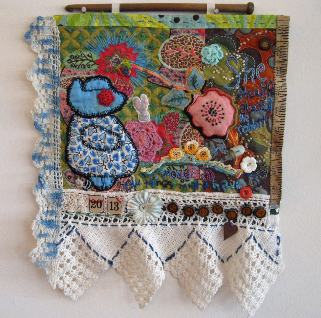 CHOICES # 1, by Sherri L. Shokler Materials: Scraps of vintage family quilts, pillowcases, and sewing supplies from my great-grandmothers, embroidery from a childhood blouse, contemporary quilt fabric, scrapbook supplies and game pieces. This piece is a meditation on a lifetime of reproductive choices. As a young woman I lived in a time and place where a full array of reproductive health options was available to me. As a middle-aged newlywed advanced technology was an option to enhance my childbearing possibilities. From the other side of menopause I find myself reflecting again on the paths I have chosen – and not chosen – for my life