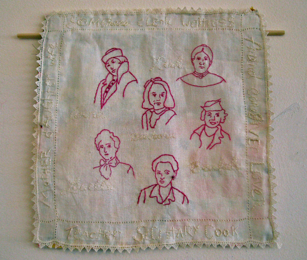CHOICES # 2, by Sherri L. Shokler Materials:  Vintage hankie from Anna Jones Quinn Dusenbury Mendenhall (my great grandmother), pieced backing from a thrift store throw, and transfers of family photos.   This piece shows four generations of the women in my family beginning with my mother in the center; her mother Beulah; her grandmothers Louella and Anna; and her great-grandmother Leah. As a child I knew all of them but now, that they have all passed, I am seeing their lives, their stories, and my own, in new ways. Some left abusive relationships, some did not. In some way, all of their choices have become part of my story.