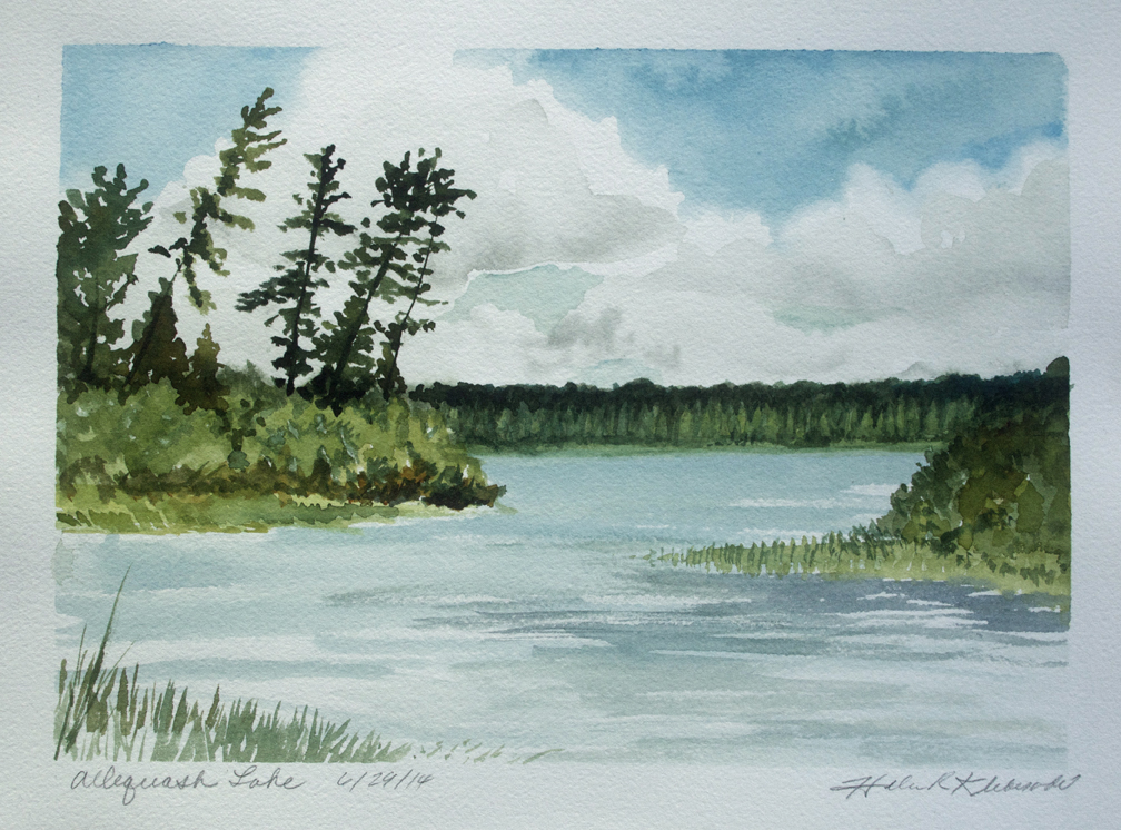 Allequash Lake, plien air watercolor by Helen Klebesadel, near Boulder Junction, WI