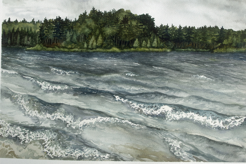 Big Musky just before the rain, watercolor, June 2014