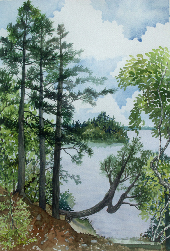 Cathedral Point-Trout Lake,watercolor, June 2014