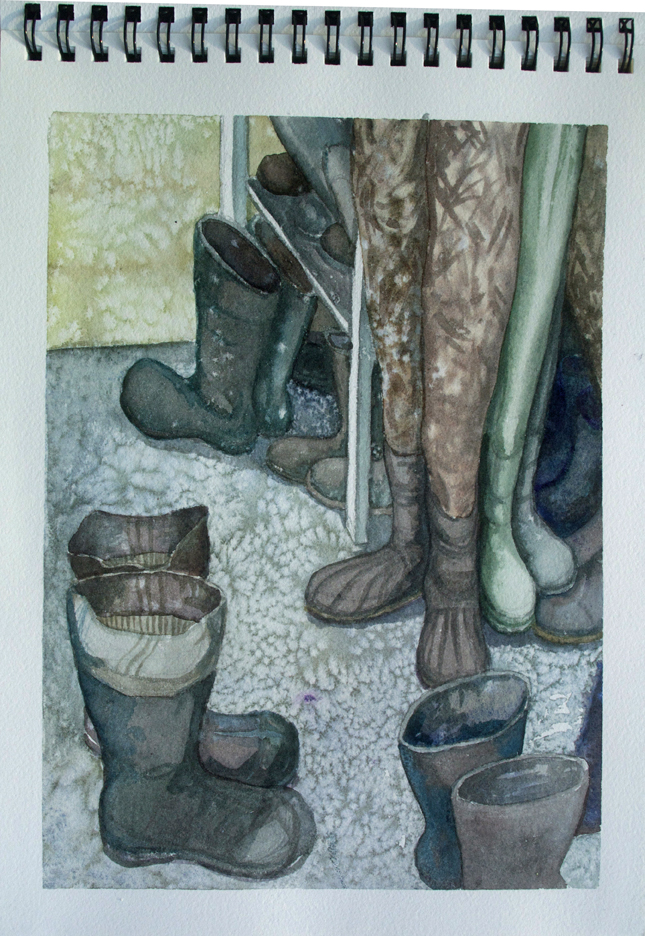 Trout Lake Research Station boot room.  Watercolor.
