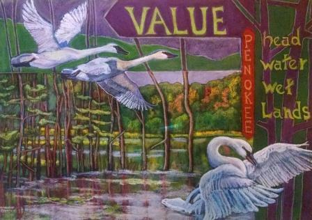 """Value Penokee: head water, wet land"", pastel painting by Terry Daulton"