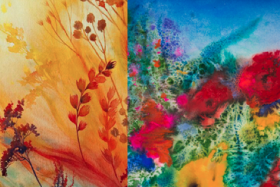 The Flowers Are Burning:  Incandescent Watercolors by H Klebesadel and MK Neumann