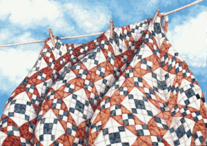 Freedom Quilt++Freedom Quilt, 30 x 40, watercolor, ©2006 Helen R Klebesadel, in the collection of Madison College