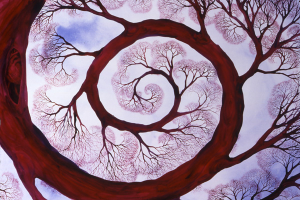 Sacred Spiral++Sacred Spiral, 30 x 40, watercolor, ©2006 Helen R Klebesadel, Private Collection