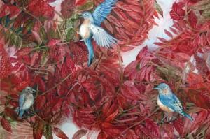 BluebirdsLoveSumac200.jpg++Bluebirds Love Sumac, 22 x 30, watercolor, ©2010 Helen R Klebesadel