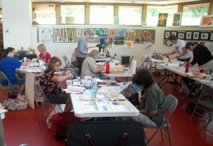 Watercolor workshop in session.