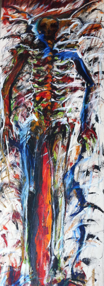 Firefalls XVII, 72 x 30 in. oil on canvas. Jean Towgood, 1997
