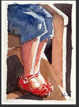 Ruby Slippers, watercolor, by Anne C. Tedeschi, Ferryville WI