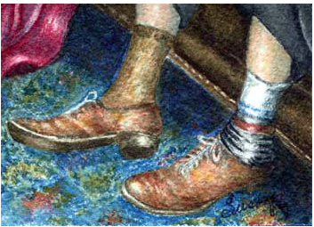 His Shoes, watercolor, 2013 2nd place award, to Susan Porubcan,, Jefferson, WI