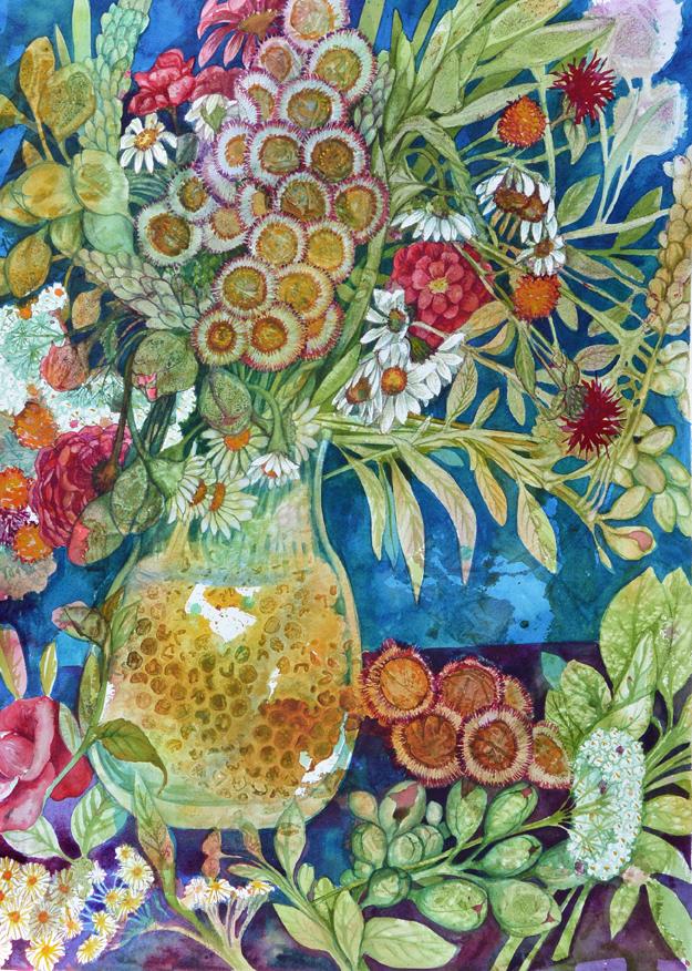 Summer Bouquet Study III, a watercolor by Helen Klebesadel 20x13