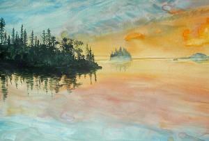 Superior Memories, watercolor on canvas