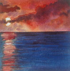 Lake IV, watercolor, 5.5 x 5.5, 2016